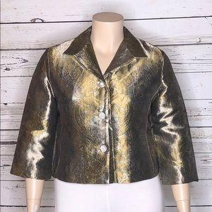 Newport News NWOT 16 Paisley Foil Blazer Jacket